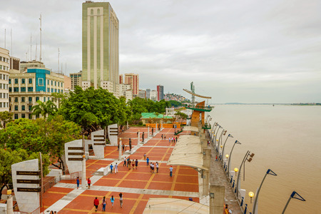 guayaquil: Guayaquil, Ecuador - April 15, 2016: View at people walking at Malecon 2000. It is the name given to boardwalk overlooking the Guayas River in the Ecuadorian port city of Guayaquil.