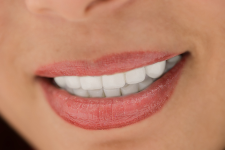smile close up: Close up of the women smile with white teeth Stock Photo