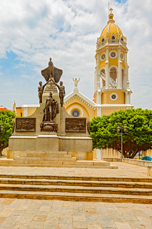 Panama City, Panama - May 15, 2016: View of the Plaza Bolivar in the old part of Panama City. View of the Bolivar monument and San Fransisco de Asisi Church. The old town is the colonial city of Panama, which was reconstructed after the sacking of the pir