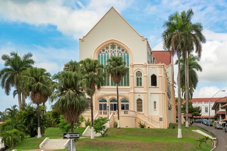 Panama City, Panama - May 15, 2015: The Balboa Union Church, as a congregation, was formed in 1914 out of the merger of several Panama Canal construction era Protestant Isthmian Canal Commission churches. The first stone of the church was laid 25 Septembe