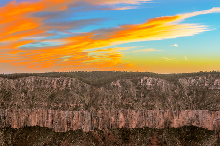 rim: The is the view at the sunset from North Rim of the Grand Canyon in Arizona, USA.