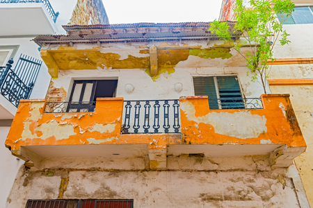 View at the facade of the old colonial house in Casco Antiguo in Panama City Editorial