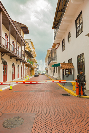 Panama City, Panama - May 15, 2016: Guarded street leading to the Presidential Palace in old part of Panama City called Casco Antiguo or Casco Viejo. Editorial