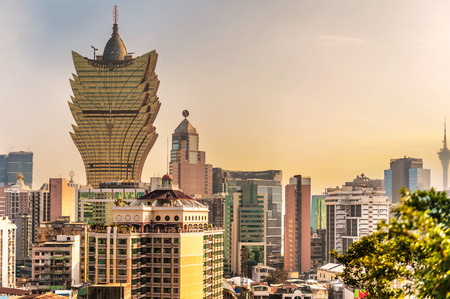 Macau, China - January 31, 2009:  View at the Grand Lisboa casino and Hotel building a popular gambling venue in Macau