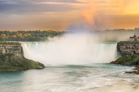 horseshoe falls: View at the Horseshoe Falls in Niagara, Ontario, Canada Stock Photo