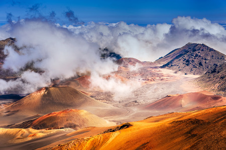 Surrealistic landscape on Haleakala Volcano in Maui island, Hawaii.