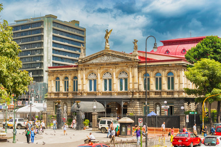 San Jose, Costa Rica - November 10, 2016: The National Theatre of Costa Rica. It opened to the public on 21 October 1897. The building is considered the finest historic building in the capital, and it is known for its exquisite interior which includes its Editorial