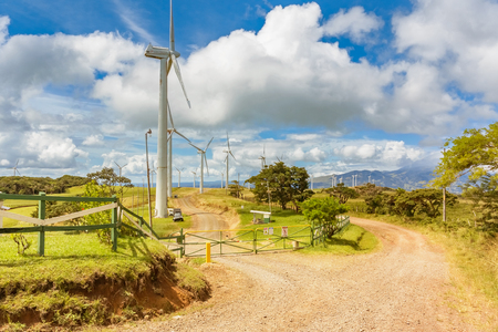 Picturesque view at the wind farm at the road near Tierras Morenas in Costa Rica