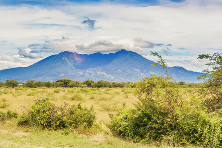Image of the volcano mountain. The picture was taken from the road near Santa Julia in Nicaragua.
