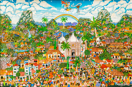 Granada, Nicaragua - November 20, 2016: Mario Marin painting called Fiestas patronales de Boaco. It is fine example of Naive painting currently in museum in Granada, Nicaragua.
