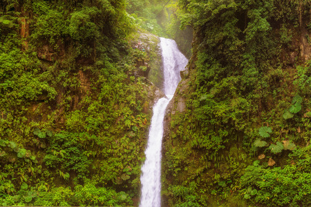 La Paz is a waterfall in central Costa Rica.it is known as Catarata de La Paz. It is 31 kilometers north of Alajuela, between Vara Blanca and Cinchona. Stock Photo