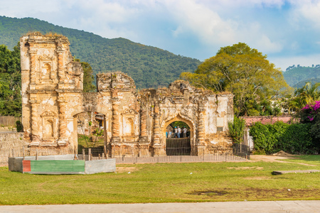 Landscape view at the ruins of the church in the Candelaria section of Antigua, Guatemala.