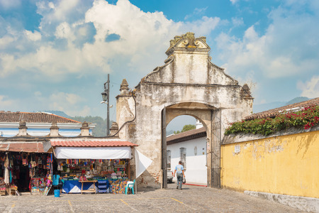 Antigua, Guatemala - December 6, 2016: Historic entrance gate to the plaza in front of Catholic church called Iglesia de San Francisco in Antigua, Guatemala. Editorial