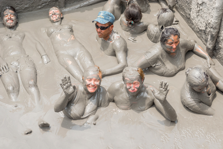 Cartagena, Colombia - March 23, 2017: People Taking Mud Bath In Crater Of Totumo Volcano Near Cartagena, Colombia Editöryel
