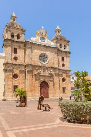 Cartagena, Columbia - March 24, 2017: Facade of Iglesia de San Pedro Claver the church and contemporary metal sculptures located in Cartagena de Indias, Colombia. Editorial