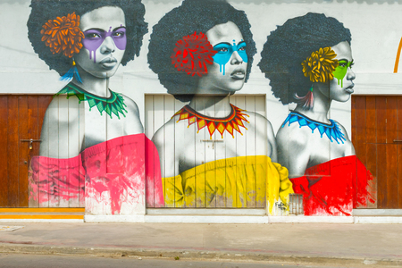 Cartagena, Colombia - March 27, 2017: Street art graffiti on a wall in the street in Getsemani area of Cartagena, Colombia, South America