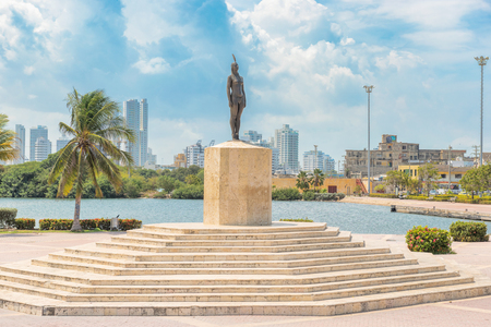 local 27: Cartagena, Colombia - March 27, 2017: The monument to India Catalina. India Catalina born in 1495 she was an indigenous woman and the daughter of the local chief. She was abducted in 1509 by Spanish conqueror. She learn Spanish She accompanied Pedro de He