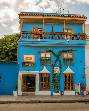 isabel: Cartagena, Colombia - March 25, 2017: View at the facade of the Hotel Casa Isabel located in part of Cartagena called Getsemani, Colombia. Editorial