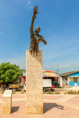 San Basilio de Palenque, Colombia - March 25, 2017: Monument in memory of  Benkos Bioho, he was the founder of Palenque. It is the first place in America where free Africans were living as it was in 1691 Spanish Crown issued a Royal Decree, guaranteeing f