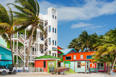 Caye Caulker, Belize - December 20, 2016: View at the modern condo building at the beach in Caye Caulker. It is a small island near Ambergris Caye, Belize. Editorial