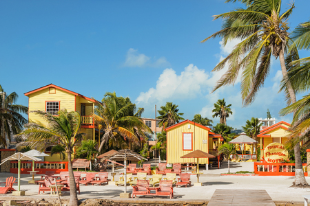 Caye Caulker, Belize - December 20, 2016: View at the hotel at the beach in Caye Caulker. It is a small island near Ambergris Caye, Belize.