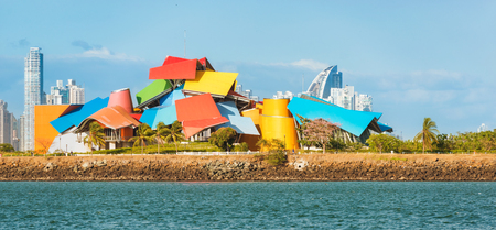 Panama City, Panama - May 15, 2015: Biomuseo is located on the Amador Causeway in Panama City. It was designed by architect Frank Gehry. The design was conceived in 1999 and the museum opened in October 2014.