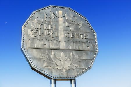 Sudbury, Canada - August 13, 2017: Nickel monument in Sudbury, Ontario, Canada.