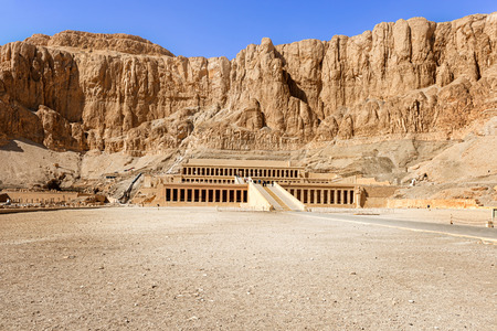 Luxor, Egypt - January 15, 2015: Tourists visiting the temple of Hatshepsut in Egypt near The Valley Of The Kings. UNESCO world heritaqge site.