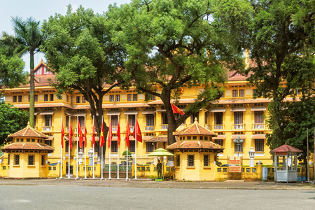 Hanoi, Vietnam - October 27, 2017: Guarded official government building of Ministry of foreign Affairs in Hanoi, Vietnam. Editorial