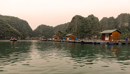 Floating village in Halong Bay, Vietnam. It is most visited place near Hanoi.