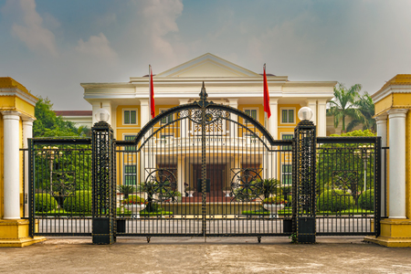 Hanoi, Vietnam - October 27, 2017: Guarded official government building in Hanoi, Vietnam.