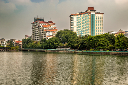 Modern buildings located on the banks of Hanoi largest lake, the West Lake.