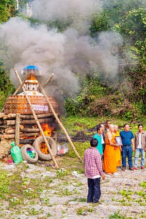 Ban Bo, Laos - November 2, 2017: Buddhist funeral near the Village of Ban Bo in Laos.