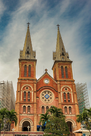 Facade of the Saigon Notre Dame Cathedral Basilica in Ho Chi Minh city, Vietnam.