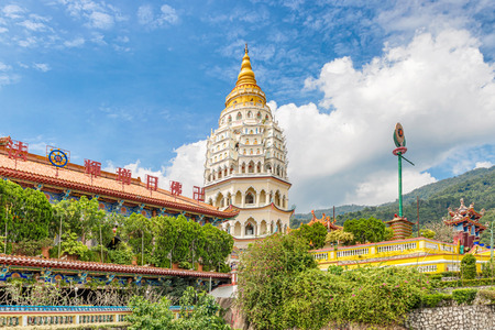 Pagoda of 10,000 Buddhas at Kek Lok Si Buddhist temple complex in Penang. It is said to be the largest Buddhist temple in Malaysia. Stock Photo