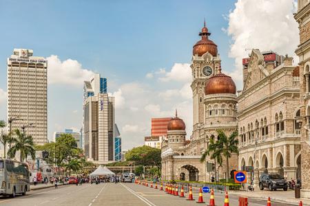 Kuala Lumpur, Malaysia - January 5, 2018: Sultan Abdul Samad building and modern buildings around independence Square in Kuala Lumpur, Malaysia