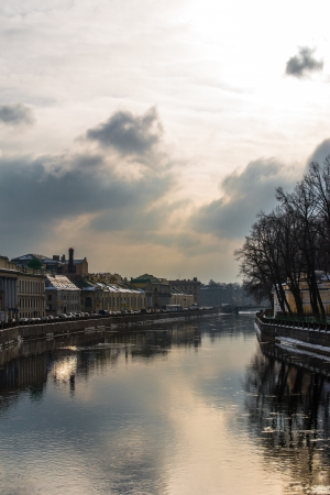 Embankment of the Saint Petersburg with beautiful clouds photo