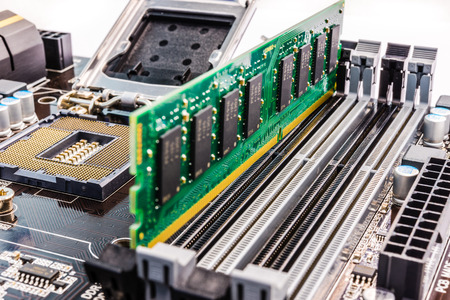 Memory chip on the system board Stock Photo