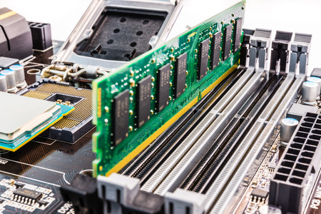 memory board: Memory chip on the system board Stock Photo