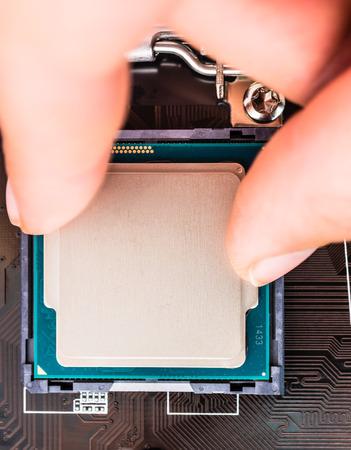 computer socket: Installation computer socket and microchip close up Stock Photo