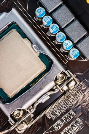 computer socket: Computer socket and microchip close up