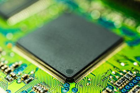 mainboard: Microprocessor close up Stock Photo