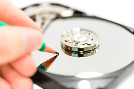 Writing data on hard disc drive photo