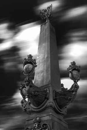 double headed eagle: Lantern with long exposure Stock Photo