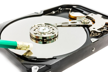 deleting: Deleting the data from hard disc drive Stock Photo