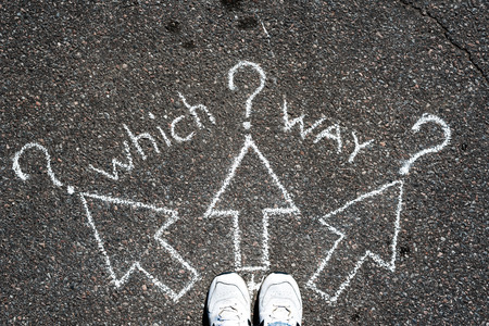 which way: Which way? Stock Photo
