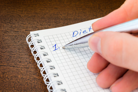 weightloss plan: Planning the diet Stock Photo