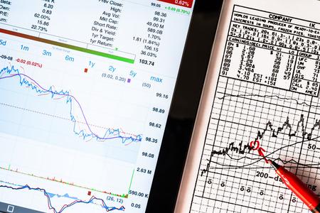 digital stock: Stock Data Analysis, mark the red Stock Photo
