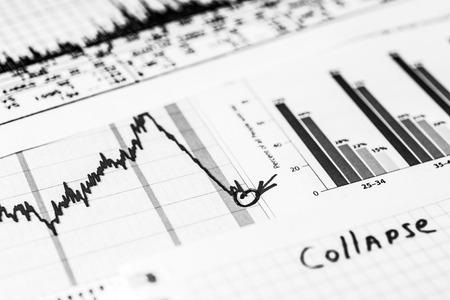 stock market crash: Stock market crash, point of the collapse. In black and white tones Stock Photo