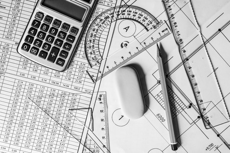 schemes: Workplace architect, creation schemes Stock Photo